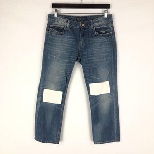 Zara Medium Wash Blue White Patch Jeans Sz 08
